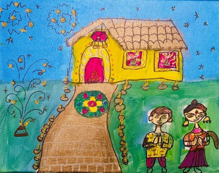 Kids celebrating Diwali by lights diyas, fireworks and making Rangoli