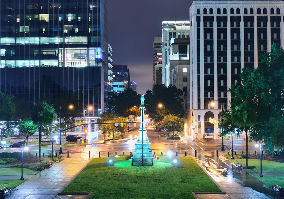 Nighttime photo of downtown Columbia